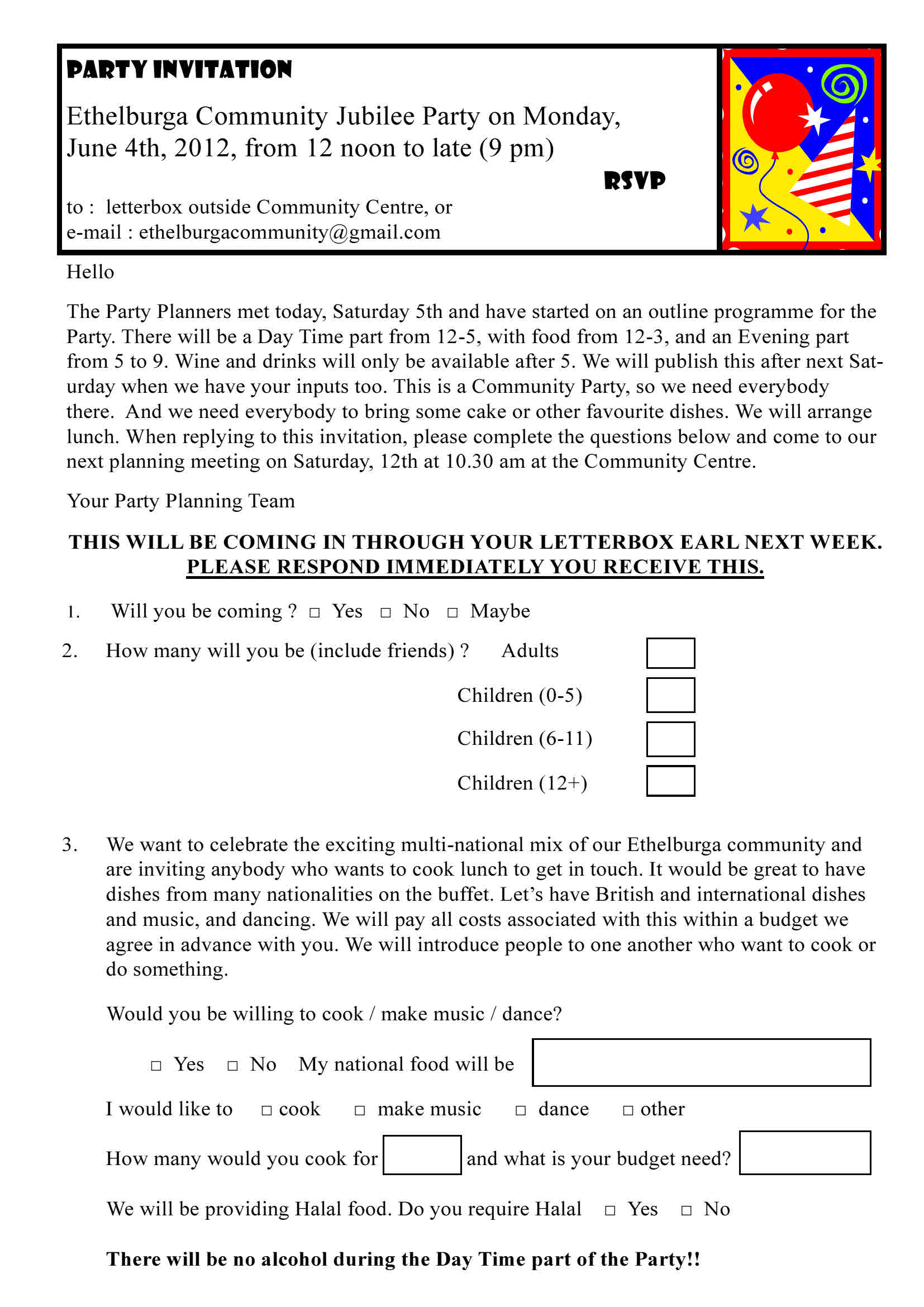 Ethelburga jubilee party invite questionnaire noticeboard this stopboris Images